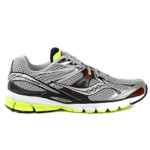 saucony men s guide 6 running shoe silver citron 10 m